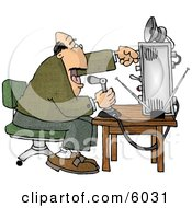 Man Talking On The Radio Clipart Picture by djart