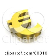3d Golden Euro Currency Symbol