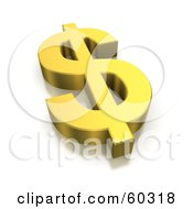 3d Golden Dollar Currency Symbol