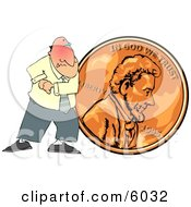 Cheapskate Businessman Pushing A Copper Penny Clipart Picture