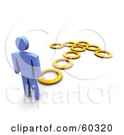 Royalty Free RF Clipart Illustration Of A 3d Blue Guy Following An Arrow Made Of Circles by Jiri Moucka