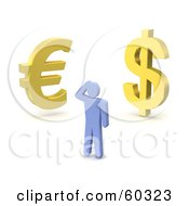3d Blue Guy Standing Before Gold Dollar And Euro Symbols