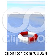 Royalty Free RF Clipart Illustration Of A Red And White Life Ring Floating On Deserted Blue Waters