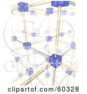 Royalty Free RF Clipart Illustration Of A Complex Background Of Networking Blue Cells And Yellow Cables Version 2 by Jiri Moucka
