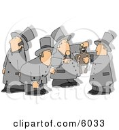 Men With Shadows Holding Up The Groundhog On Groundhog Day Clipart