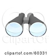 Royalty Free RF Clipart Illustration Of A Pair Of 3d Black Binoculars by Jiri Moucka