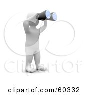 Royalty Free RF Clipart Illustration Of A 3d Blanco Man Character Using Binoculars by Jiri Moucka