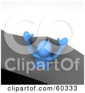 Royalty Free RF Clipart Illustration Of A 3d Azul Man Character Hanging Dangerously Onto The Ledge Of A Cliff