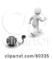 Royalty Free RF Clipart Illustration Of A 3d Blanco Man Character Walking Away From A Ball And Chain Symbolizing Divorce Debt Free And Freedom
