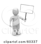 Royalty Free RF Clipart Illustration Of A 3d Blanco Man Character Standing And Holding A Blank Sign