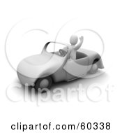 Royalty Free RF Clipart Illustration Of A 3d Blanco Man Character Waving And Driving