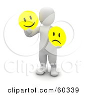Royalty Free RF Clipart Illustration Of A 3d Blanco Man Character Holding Happy And Sad Faces