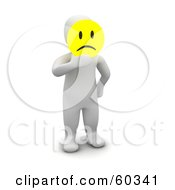 3d Blanco Man Character Holding A Yellow Emoticon Pouting Face