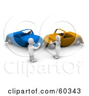 Royalty Free RF Clipart Illustration Of 3d Blanco Man Characters Arguing Over A Car Wreck