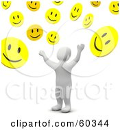 Royalty Free RF Clipart Illustration Of A 3d Blanco Man Character Tossing Up Smiley Faces