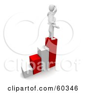 Royalty Free RF Clipart Illustration Of Two 3d Blanco Man Characters Standing On The Tallest Bar Of A Graph by Jiri Moucka