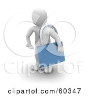 Royalty Free RF Clipart Illustration Of A 3d Blanco Man Character Carrying A Large Blue Padlock
