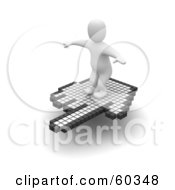 3d Blanco Man Character Surfing On A Hand Cursor Version 1