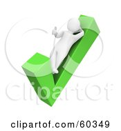 3d Blanco Man Character Giving The Thumbs Up And Leaning On A Green Check Mark by Jiri Moucka