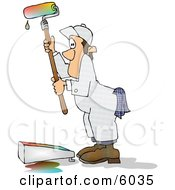 Man Using A Roller Brush To Paint A Wall With Colorful Paint Clipart