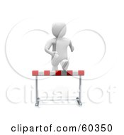 Royalty Free RF Clipart Illustration Of A 3d Blanco Man Character Running Forward And Leaping Over A Hurdle by Jiri Moucka