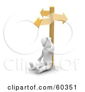 Royalty Free RF Clipart Illustration Of A Stumped 3d Blanco Man Character At A Crossroads by Jiri Moucka