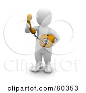 Royalty Free RF Clipart Illustration Of A 3d Blanco Man Character Making A Phone Call