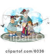 Family Fishing Together On An Island Clipart Picture
