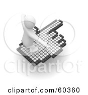 3d Blanco Man Character Surfing On A Hand Cursor Version 2