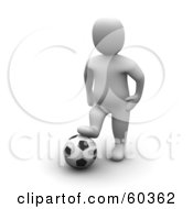 Royalty Free RF Clipart Illustration Of A 3d Blanco Man Character Resting His Foot On A Soccer Ball by Jiri Moucka