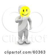 3d Blanco Man Character Holding A Yellow Emoticon Smiley Face