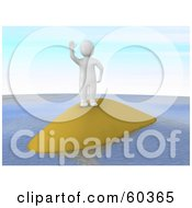 3d Blanco Man Character Waving From A Small Island by Jiri Moucka