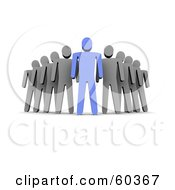 Royalty Free RF Clipart Illustration Of A 3d Gray Guys Standing Behind A Blue Guy