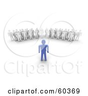 Royalty Free RF Clipart Illustration Of A 3d Blue Guy Facing White Men by Jiri Moucka