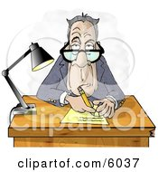 Clipart Of A Grumpy Crotchety Old Bespectacled White Businessman Interviewing Someone And Taking Notes Royalty Free Illustration