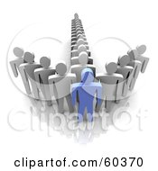 Royalty Free RF Clipart Illustration Of A 3d Blue Guy At The Front Of An Arrow Made By Gray Men