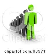 3d Green Guy Leading Black Men