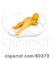 Royalty Free RF Clipart Illustration Of A 3d Anaranjado Man Character Relaxing On A Cloud by Jiri Moucka