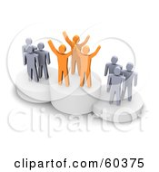 Royalty Free RF Clipart Illustration Of 3d Anaranjado And Gray Men Standing On Platforms