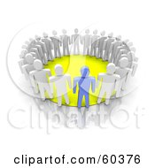 Royalty Free RF Clipart Illustration Of A 3d Group Of Blue And White Men Standing Around A Yellow Circle by Jiri Moucka
