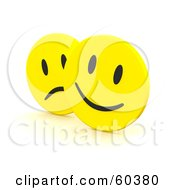 Royalty-Free (RF) Clipart Illustration of Yellow Happy And Sad Emoticon Faces by Jiri Moucka #COLLC60380-0122