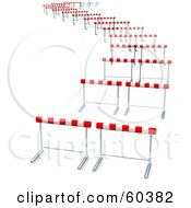 Royalty Free RF Clipart Illustration Of Curvy Path Of Hurdles by Jiri Moucka