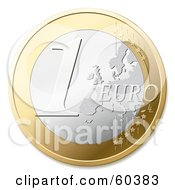 Royalty Free RF Clipart Illustration Of A One Euro Coin Version 1
