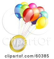 Royalty Free RF Clipart Illustration Of Balloons Floating Away With A Euro Coin