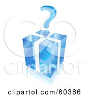3d Question Mark Over A Transparent Blue Cube Gift Box