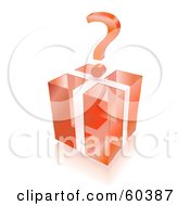 3d Question Mark Over A Transparent Red Cube Gift Box