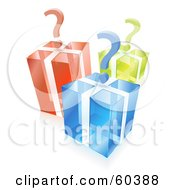 3d Question Marks Over Transparent Blue Green And Red Cube Gift Boxes