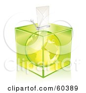 Royalty Free RF Clipart Illustration Of A Green Europe Globe In A Transparent Ballot Box