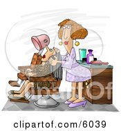Hairdresser Working On A Client Clipart Picture