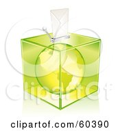 Royalty Free RF Clipart Illustration Of A Green America Globe In A Transparent Ballot Box